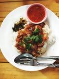 Czerwona wieprzowina i Rice obraz stock