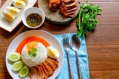 Czerwona wieprzowina i Rice jedzenie obraz stock