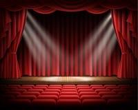 Czerwona zasłona i pusta teatralnie scena royalty ilustracja