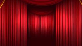 Czerwona zasłona Reżyseruje zasłonę Wysokiej jakości animacja komputerowa kurtyna końcowy ilustracja wektor