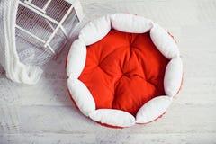 Czerwona zwierzę domowe materac w pokoju z klatką Obraz Royalty Free