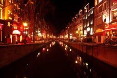 Czerwone światło okręg w Amsterdam holandiach Obrazy Royalty Free