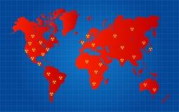 Czerwone Światowej mapy Jądrowe Promieniotwórcze Szturmowe lokacje Zdjęcie Royalty Free