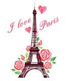 Czerwone akwareli róże, wieża eifla i Zdjęcie Royalty Free