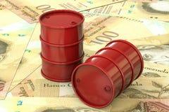 Czerwone baryły ropy naftowej kłamają na tle banknotu sto wenezuelczyka bolivar, Wenezuela ilustracja wektor