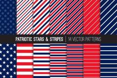 Czerwone Białe Błękitne Patriotyczne gwiazdy i lampasów Wektorowi Bezszwowi wzory Zdjęcie Stock