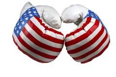 Czerwone Białe i Błękitne Bokserskie rękawiczki fotografia stock