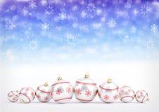 Czerwone boże narodzenie piłki na bokeh tle z płatkami śniegu ilustracja 3 d Obraz Royalty Free