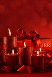 Czerwone Bożenarodzeniowe świeczki Obrazy Royalty Free