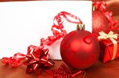 czerwone boże narodzenie karciane dekoracje Obrazy Royalty Free