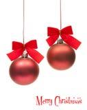 czerwone Boże Narodzenie kule ziemskie fotografia stock