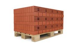 Czerwone cegły brogować na drewnianym barłogu ilustracji