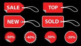czerwone cen zestawy etykiety Obraz Royalty Free