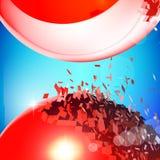 Czerwone 3D piłki wybuchali w kawałki Obrazy Royalty Free