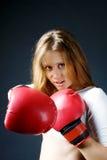 czerwone dziewczyn bokserskie rękawiczki obraz royalty free