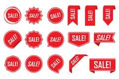 Czerwone etykietki, czerwień odizolowywająca na białym tle, wektorowa ilustracja royalty ilustracja