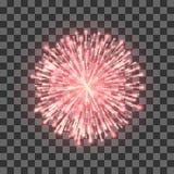 czerwone fajerwerki Festiwalu piękny fajerwerk Wektorowy llustration na przejrzystym tle royalty ilustracja