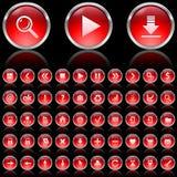 czerwone glansowane ikony Zdjęcia Stock