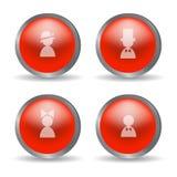 Czerwone glansowane nowożytne sfery z rodzinnymi ikonami Obrazy Royalty Free