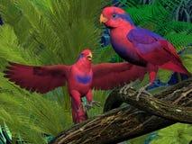 Czerwone i Błękitne Lory papugi ilustracji