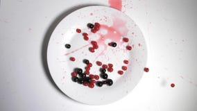 Czerwone i czarne jagody porzeczki wpadają w piękną płytę. Owoce porzeczki poruszającej się spadają na biały widok zbiory