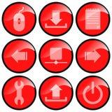 czerwone ikony Fotografia Stock