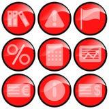 czerwone ikony Obrazy Stock