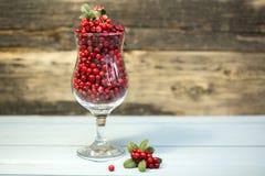 Czerwone jagody w szkle na drewnianym tle Zdjęcie Stock