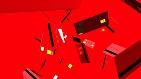 Czerwone karty kredytowe na czerwonym tle