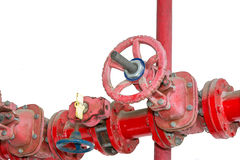 Czerwone kontrolne gałeczki dla starych żelaznych wodnych drymb na białym tle Zdjęcie Royalty Free