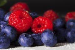 Czerwone malinki i czarne jagody Zdjęcie Royalty Free