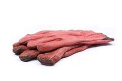 czerwone ogrodniczek rękawiczki Obrazy Royalty Free