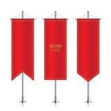 Czerwone pionowo wektorowe sztandar flaga odizolowywać ilustracji