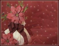 czerwone poinsecje i gałąź w białym wazowym tle Christmascard zdjęcia royalty free
