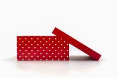 Czerwone polek kropki boksują, z ścinek ścieżką Obrazy Royalty Free