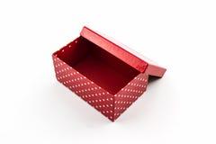 Czerwone polek kropki boksują, z ścinek ścieżką Fotografia Stock