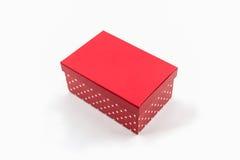 Czerwone polek kropki boksują, z ścinek ścieżką Zdjęcie Stock