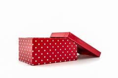 Czerwone polek kropki boksują, z ścinek ścieżką Zdjęcie Royalty Free