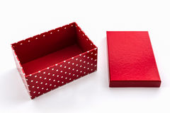 Czerwone polek kropki boksują, z ścinek ścieżką Zdjęcia Stock