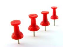 czerwone pushpins Zdjęcie Royalty Free