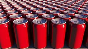 Czerwone puszki bez loga przy zmierzchem Miękcy napoje lub piwo dla przyjęcia Przetwarzać pakować świadczenia 3 d Zdjęcia Royalty Free