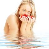 czerwone róże blond włosy białe Fotografia Stock