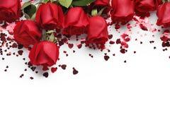 Czerwone róże i kierowi kształtów ornamenty Zdjęcie Stock