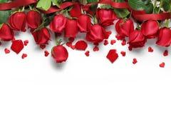 Czerwone róże i kierowi kształtów ornamenty Obraz Stock