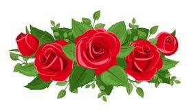 Czerwone róże, rosebuds i liście. ilustracja wektor