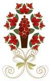 czerwone róże tasiemkowe złote ilustracja wektor