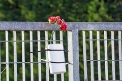 Czerwone róże upamiętniać nieboszczyka fotografia royalty free