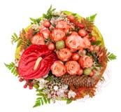 Czerwone róże z boże narodzenie ornamentami i dekoracją Fotografia Stock
