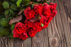 Czerwone róże na nieociosanym tle Zdjęcie Royalty Free
