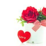 Czerwone róże w garnku Zdjęcie Stock